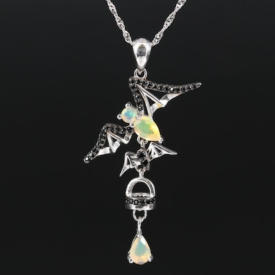 Sterling Silver Flying Bat Necklace Featuring Opal and Spinel