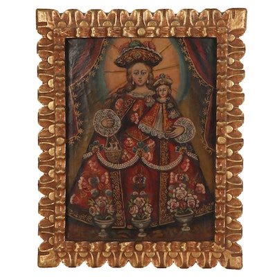 Cuzco School Style Oil Painting of Madonna and Child, Early 19th Century