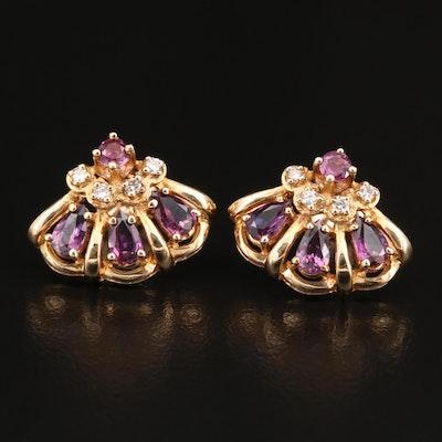 Circa 1986 Franklin Mint 14K Ruby and Diamond Fan Earrings