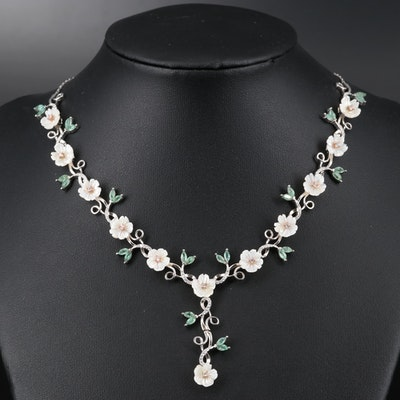 Sterling Silver Mother of Pearl, Beryl and Cubic Zirconia Flower Necklace