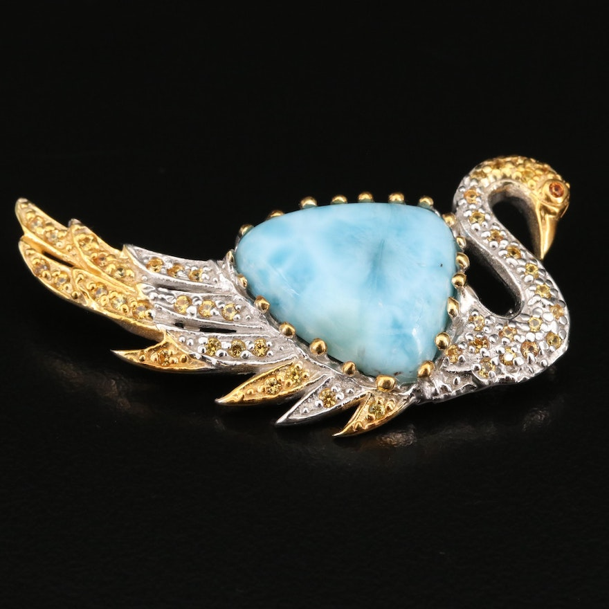 Sterling Silver Larimar and Sapphire Swan Brooch