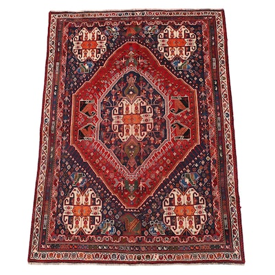 5'0 x 7'2 Hand-Knotted Persian Qashqai Wool Area Rug