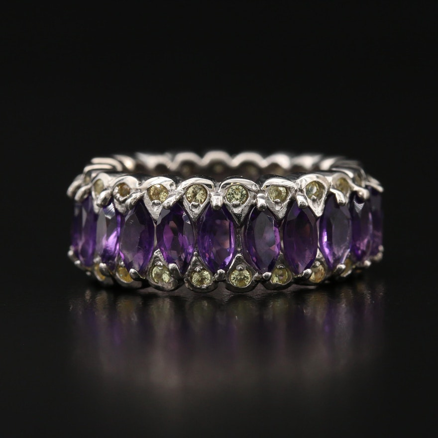 Sterling Amethyst and Sapphire  Eternity Band