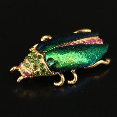 Sterling Silver Beetle Brooch Featuring Beetle Elytra, Diopside and Rubies