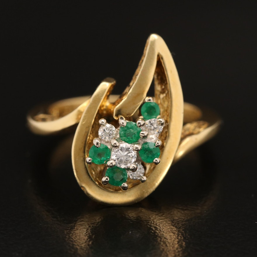 Elwood Van Clief 18K Emerald and Diamond Ring
