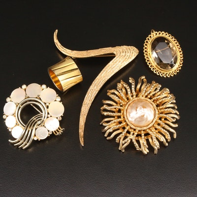 Jewelry Featuring Trifari and Gold Filled Converter Brooch