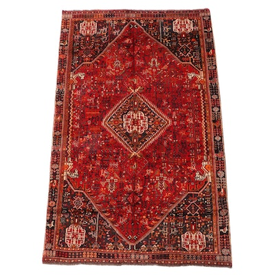 4'8 x 7'11 Hand-Knotted Persian Qashqai Wool Area Rug