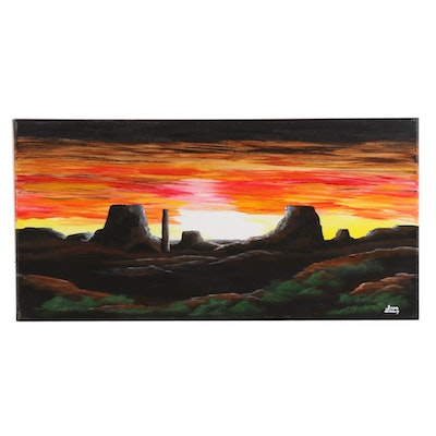 Jim Vander Wiel Acrylic Painting of Monument Valley at Sunset, 2019