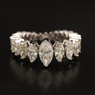 Platinum 3.90 CTW Marquise Diamond Graduated Eternity Band