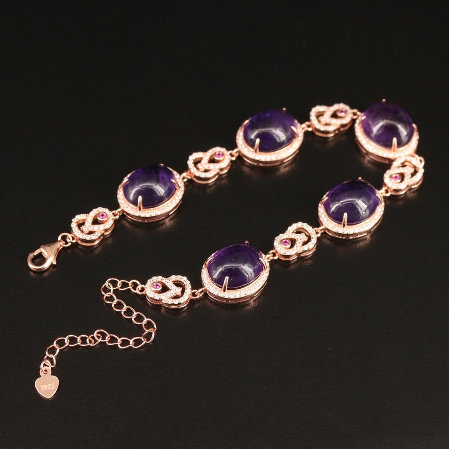 Sterling Silver Amethyst, Ruby and Cubic Zirconia Halo Bracelet