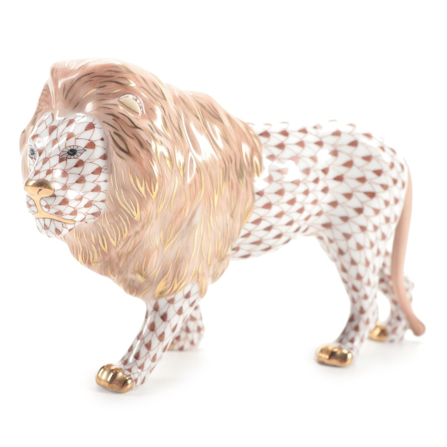 """Herend Chocolate Fishnet with Gold """"Standing Lion"""" Porcelain Figurine"""