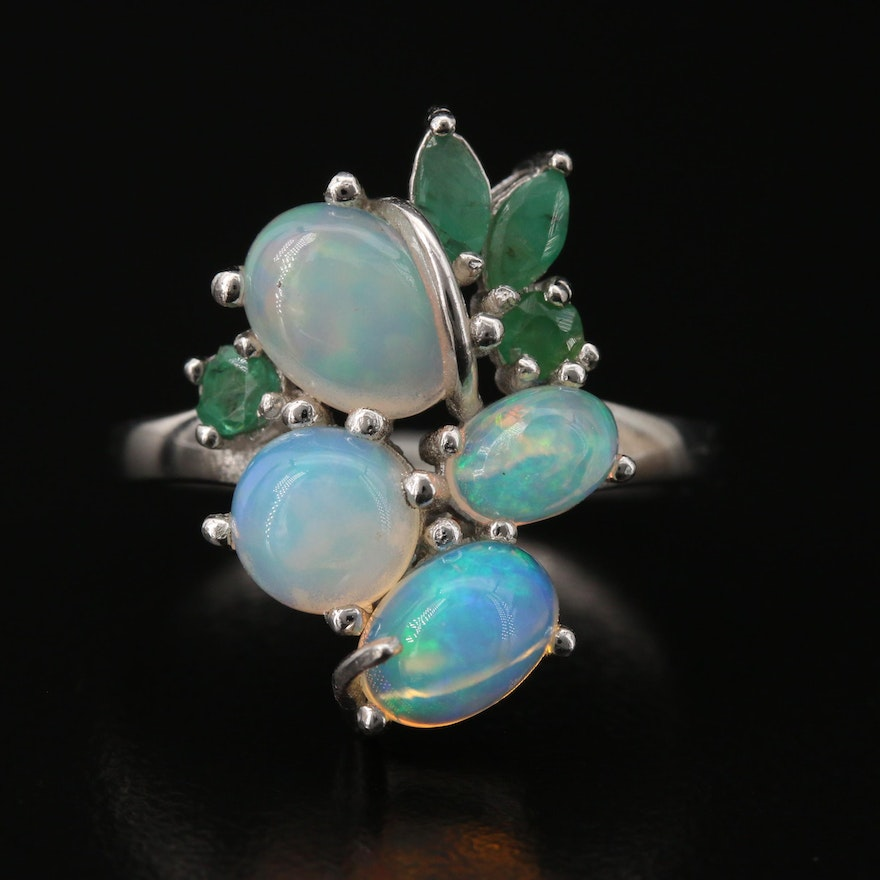 Sterling Silver Opal and Emerald Ring