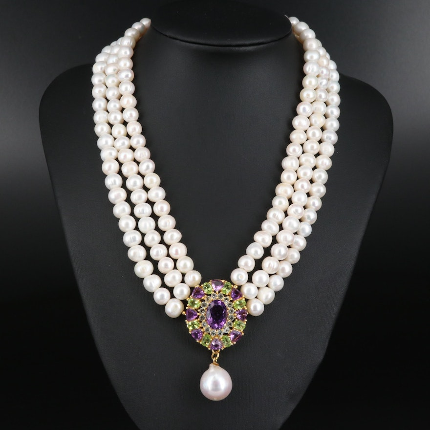 Sterling Silver Amethyst and Peridot Pendant on Triple Strand of Pearls