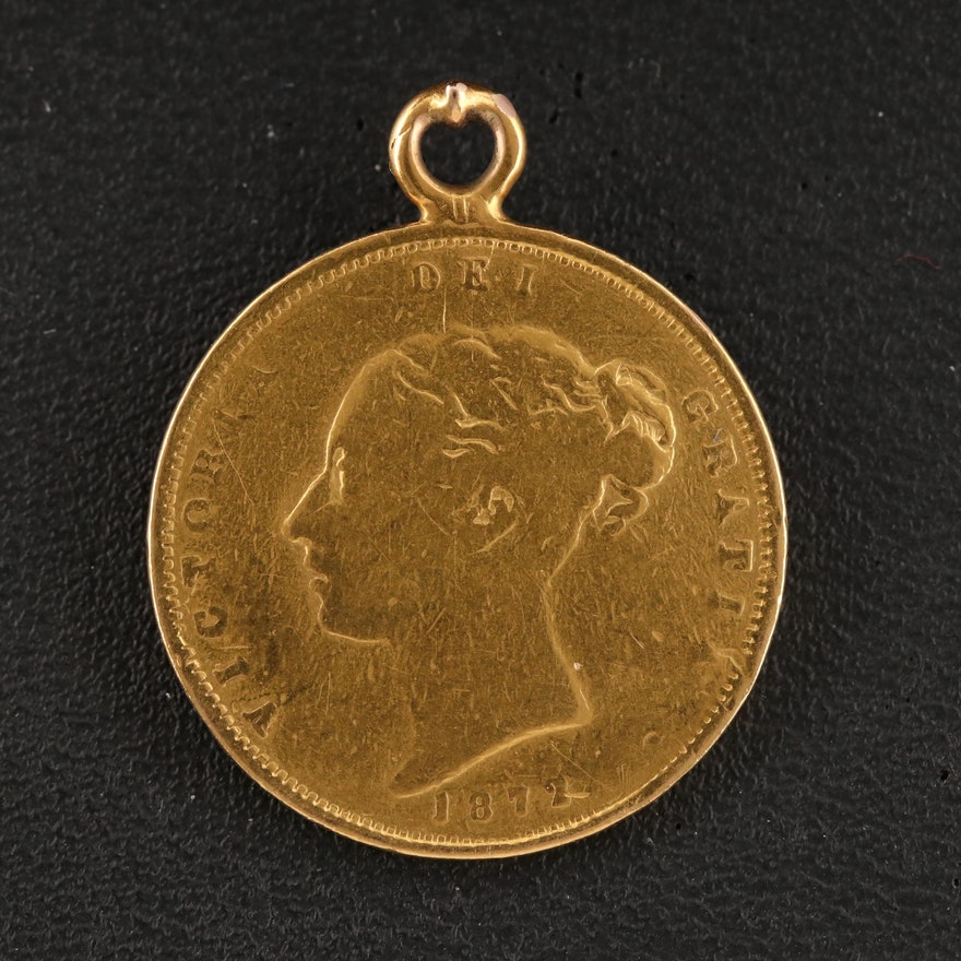 14K Pendant of 1872 British Gold Half Sovereign Coin