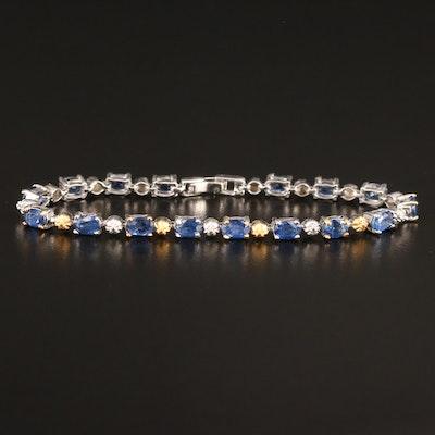 Sterling Silver Sapphire Line Bracelet
