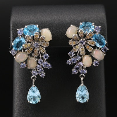 Sterling Topaz, Tanzanite and Sapphire Earrings