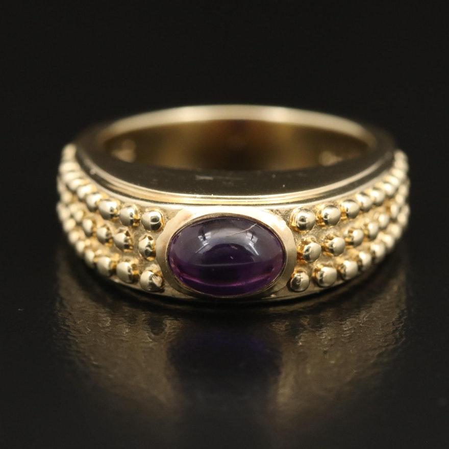 14K Oval Amethyst Cabochon Ring