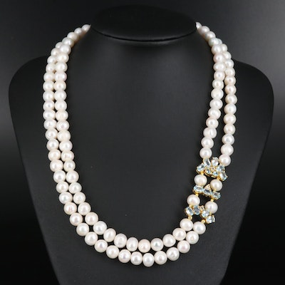Sterling Silver Pearl and Topaz Double Strand Necklace