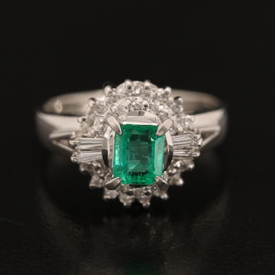 Platinum Emerald and 0.25 CTW Diamond Ring