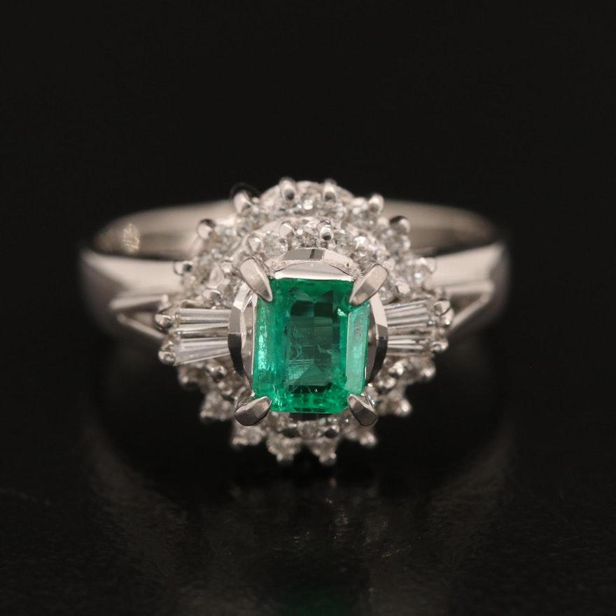 Platinum Emerald and 0.25 CTW Diamond Ring