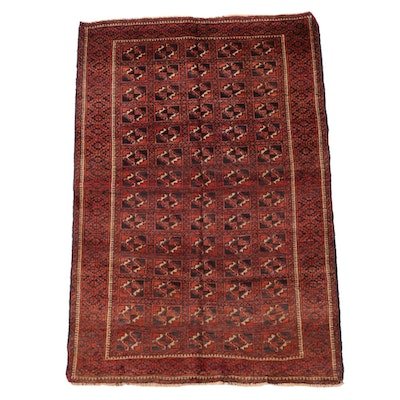 3'7 x 5'4 Hand-Knotted Afghan Turkmen Bokhara Wool Area Rug