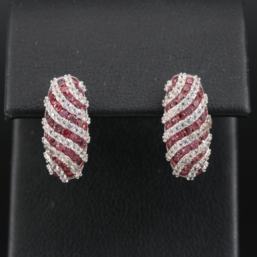 Sterling Silver Sapphire Earrings Featuring Striped Design