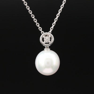 14K Pearl Pendant Necklace with Diamond Accent