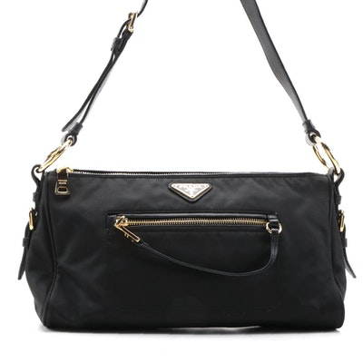 Prada Front Zip Shoulder Bag in Black Tessuto Nylon and Leather