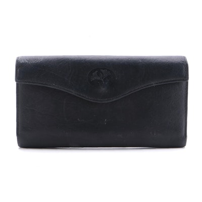 Buxton Black Grained Leather Continental Wallet