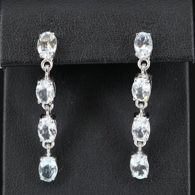 Sterling Aquamarine Line Dangle Earrings