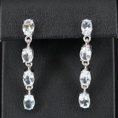Sterling Aquamarine Line Dangle Earrings