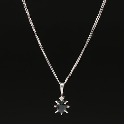 Platinum Sapphire and Diamond Pendant Necklace