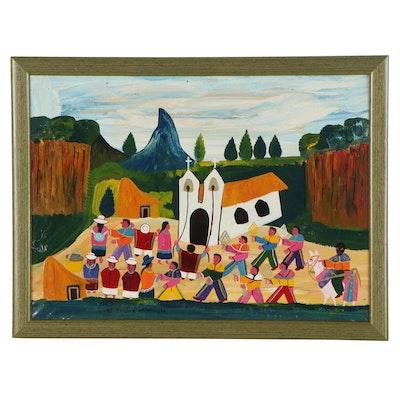 "Ecuadorian Folk Art Oil Painting ""El Feista di Mama Negra,"" 21st Century"
