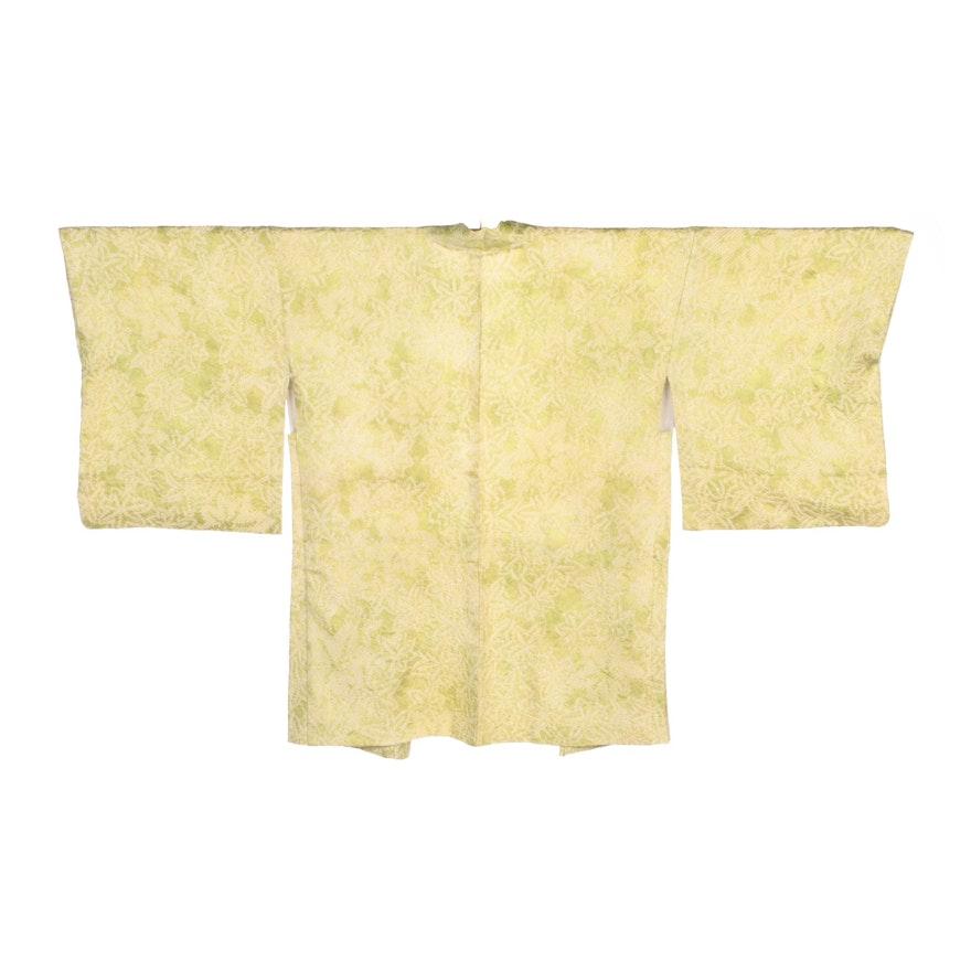 Chartreuse Shibori Haori Kimono, Shōwa Period