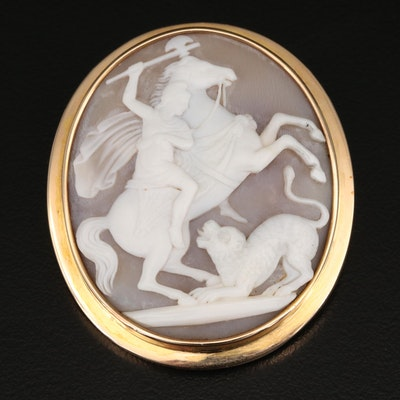 Vintage 14K Carved Shell Cameo Brooch
