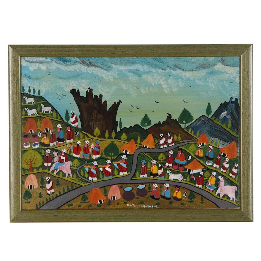 Pedro Ilaquiche Ecuadorian Folk Acrylic Painting, 21st Century