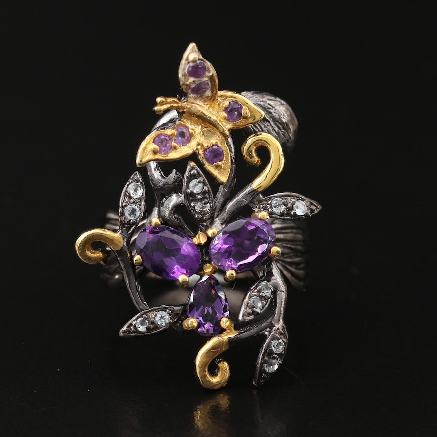 Sterling Silver Amethyst and Topaz Butterfly and Floral Ring