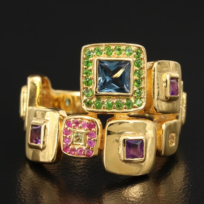 Sterling Geometric Bypass Ring Featuring Blue Topaz, Amethyst and Diopside