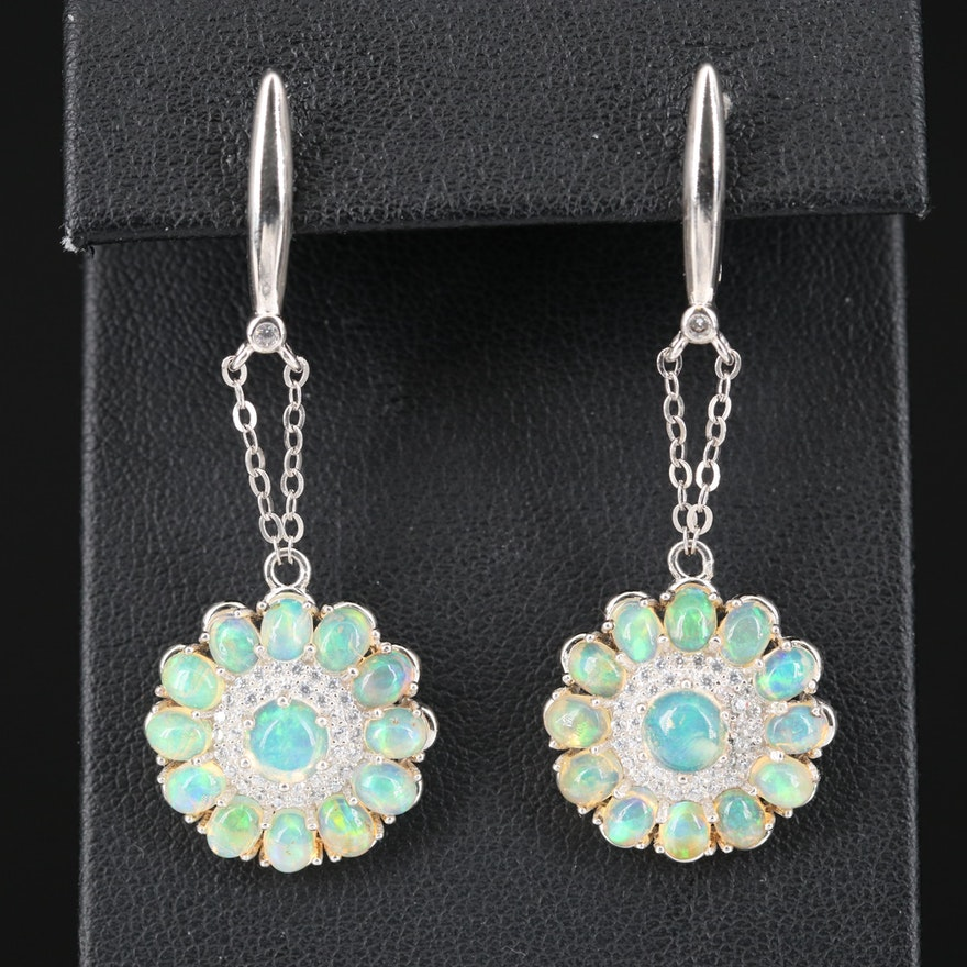 Sterling Opal and Cubic Zirconia Dangle Earrings