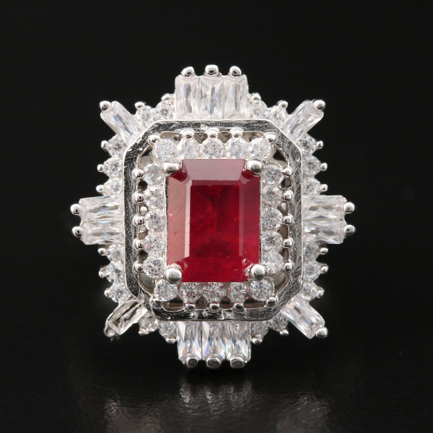 Sterling Silver Corundum Ring Surrounded by Cubic Zirconia