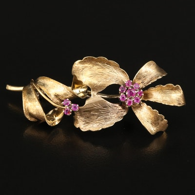 18K Ruby Floral Brooch