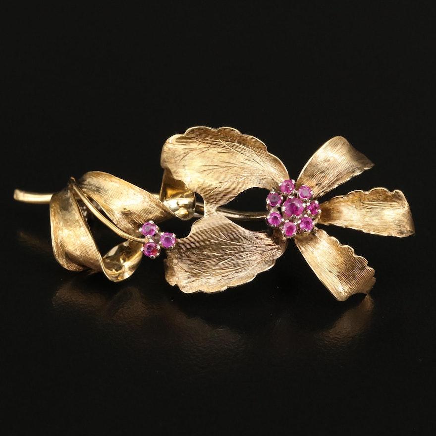 18K Ruby Floral Brooch