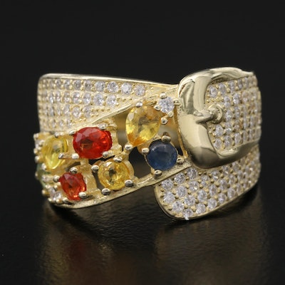 Sterling Silver Sapphire and Cubic Zirconia Buckle Band