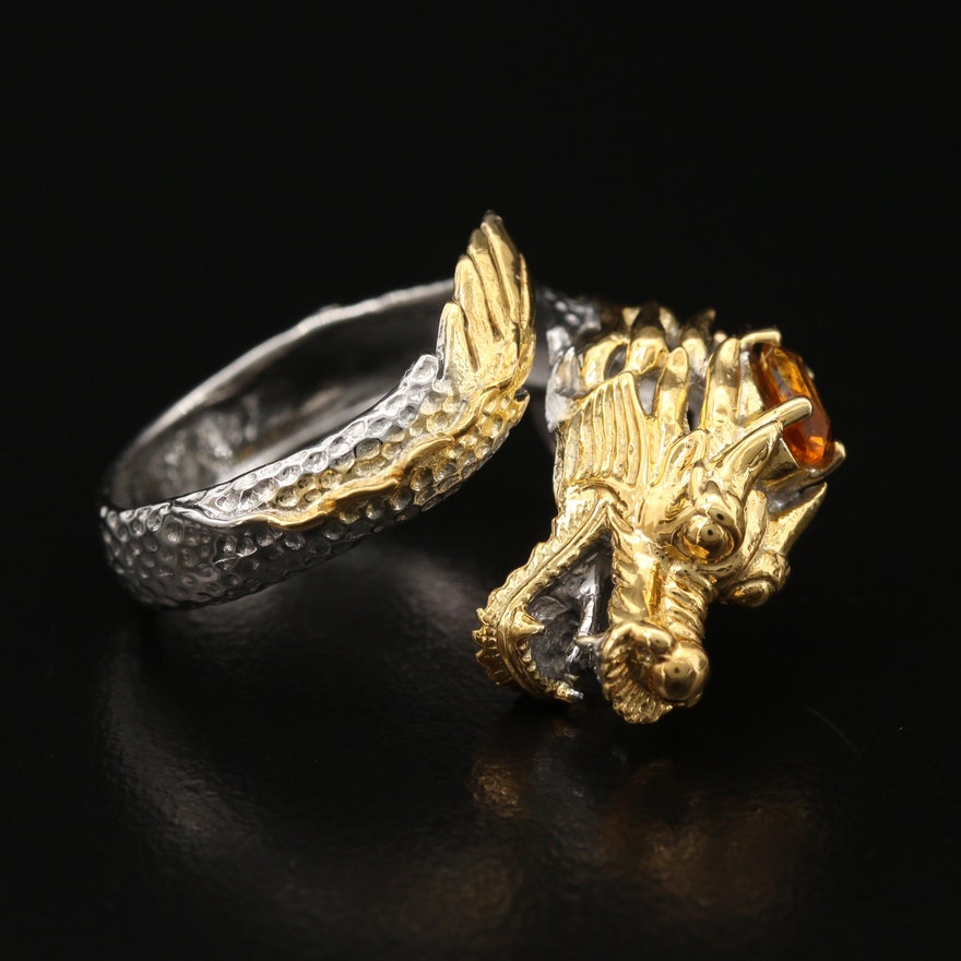 Sterling Silver Citrine Dragon Bypass Ring