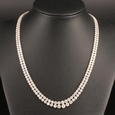 Platinum 10.02 CTW Diamond Double Riviera Necklace