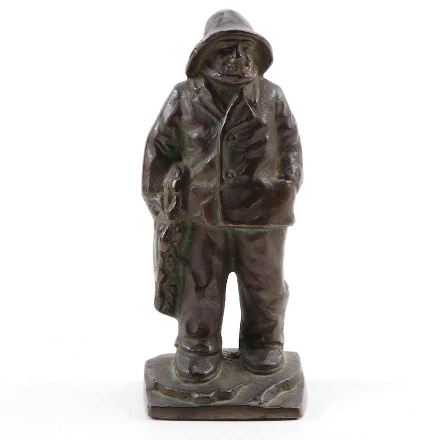 Cast Bronze Fisherman Statue, Mid-20th Century