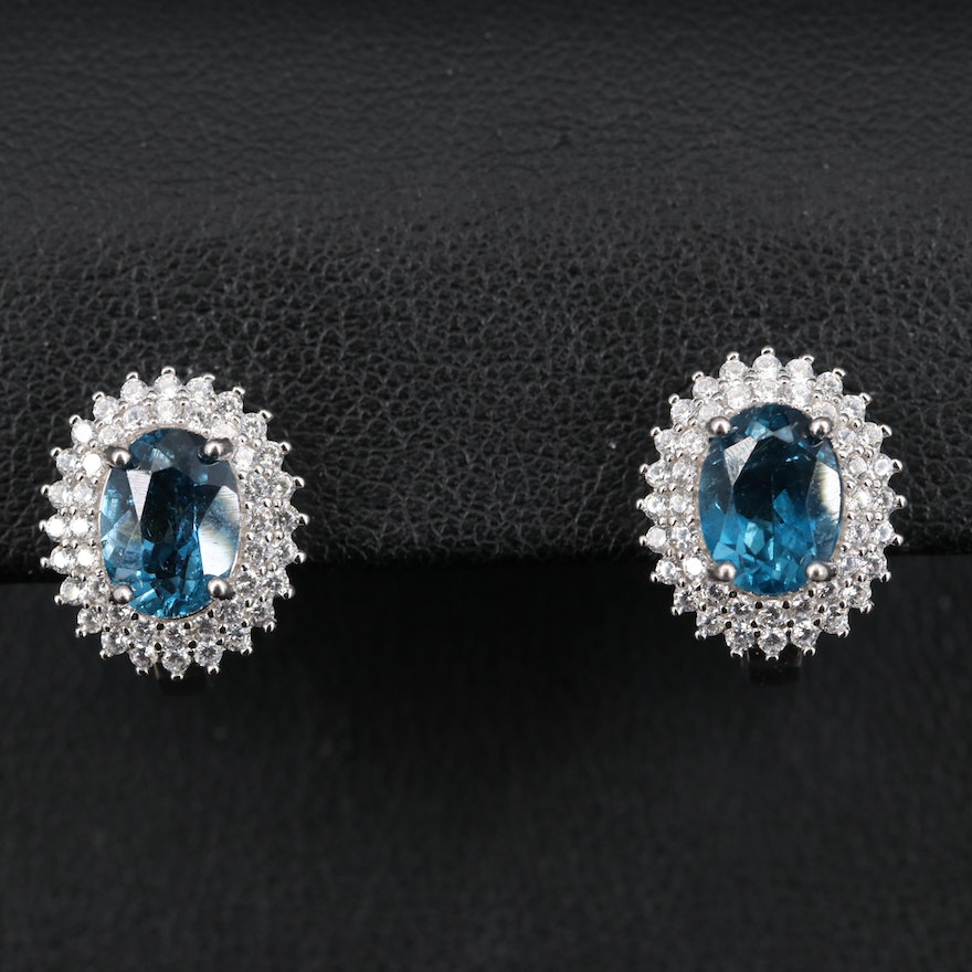 Sterling London Blue Topaz and Cubic Zirconia Double Halo Earrings