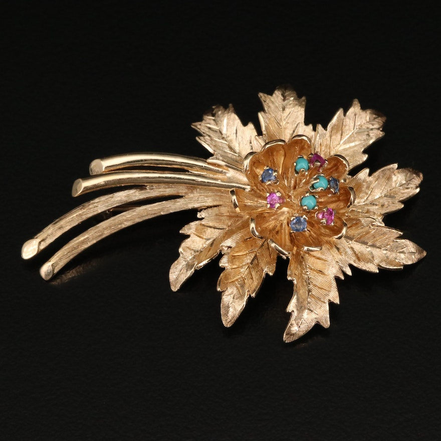 14K Sapphire and Turquoise Flower Brooch