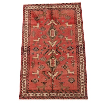 4'1 x 6'9 Hand-Knotted Afghan Baluch Pictorial Wool Area Rug