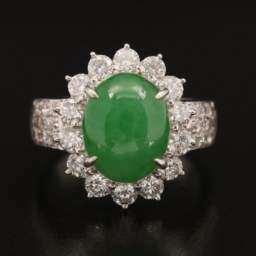 Platinum Jadeite and 1.43 CTW Diamond Ring